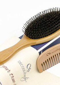 Boar Bristle Hair Brush – Natural Pure Boar Bristles Mixed with Nylon Pins – Large Wood Handle – Easy to Detangle Long…