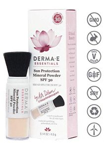 DERMA E Sun Protection Mineral Powder SPF 30 – Powder sunscreen for face with SPF 30 – Brush on translucent mineral…
