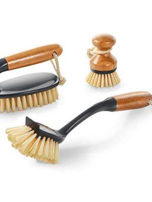 Mastertop 3PCS Durable Bamboo Brush Set with Dish Brush Pan Brush Floor Brush Used to Kitchen Washing Floor Brush…