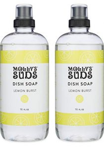 Molly's Suds Natural Liquid Dish Soap, Lemon Burst Scented, 16 oz, 2 Pack