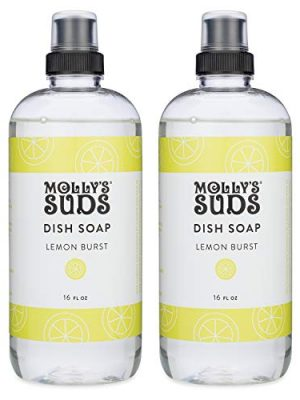 Molly's Suds Natural Liquid Dish Soap   Long-Lasting, Powerful Plant-Powered Ingedients   Herbal Lemon Scent   16 oz – 2…