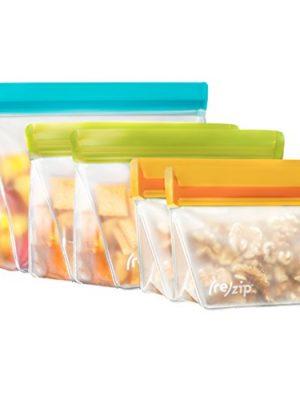 rezip 5-piece Stand-Up Leakproof Reusable Storage Bag Pack n' Go Kit