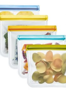 rezip Lay-Flat Lunch Leakproof Reusable Storage Bag 5-Pack (Multi Color, 5)