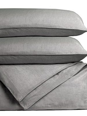 Cariloha Bamboo Linen Duvet Cover Set Includes Duvet Cover and 2 Pillow Shams – 3 Degrees Cooler Than Cotton – Soft and…