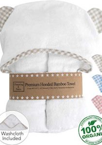 Premium Organic Baby Towel with Hood and Washcloth Gift Set – Boutique Baby Towels and Washcloths – Bamboo Hooded Towels…