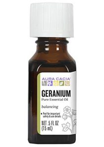 Aura Cacia 100% Pure Geranium Essential Oil | GC/MS Tested for Purity | 15 ml (0.5 fl. oz.) | Pelargonium graveolens
