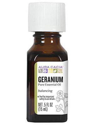 Aura Cacia 100% Pure Geranium Essential Oil | GC/MS Tested for Purity | 15 ml (0.5 fl. oz.) | Pelargonium graveolens