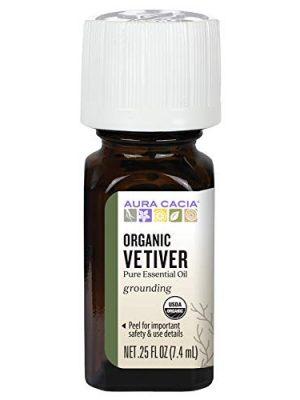 Aura Cacia Certified Organic Pure Vetiver Essential Oil | 0.25 fl. oz. | Vetiveria zizanioides