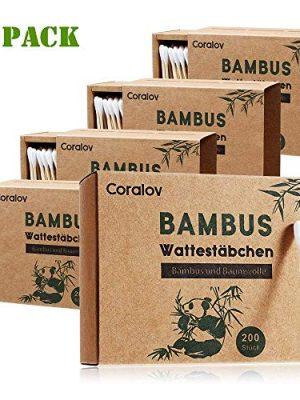 Bamboo Cotton Swab 1000PCS Double Cotton Buds bamboo Cotton Bud Eco organic bamboo ear swab for Ear Skin Jewelry Art Pet…
