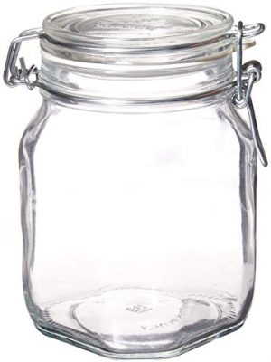 Bormioli Rocco – SYNCHKG122276 Fido Clear Glass Jar with 85 mm Gasket,1 Liter (Pack of 2)