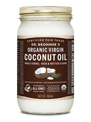 Dr. Bronner's – Organic Virgin Coconut Oil (Whole Kernel, 14 Ounce) – Coconut Oil for Cooking, Baking, Hair & Body…