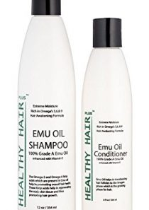 Healthy Hair Plus – Emu Oil Shampoo (12oz) and Conditioner (8oz) Deep Moisturizing Hair Care for Dry Hair and Scalp