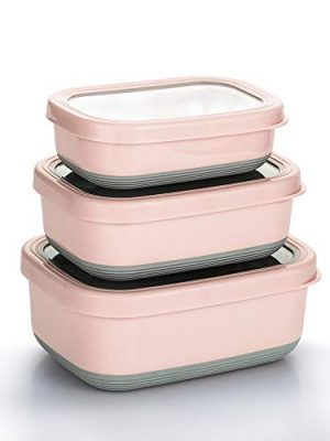 Lille Home Premium Stainless Steel Food Containers/Bento Lunch Box With Anti-Slip Exterior, Set of 3, 470ML, 900ML,1.4L…