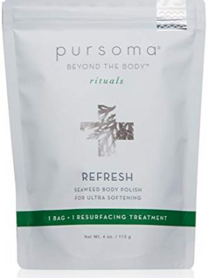 Pursoma REFRESH Seaweed Body Polish with French Grey Sea Salt, Organic Green and Brown Algae, and Dry Oil Infusion…
