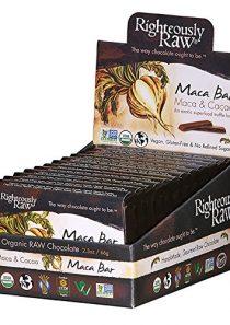 Righteously Raw Dark Chocolate Maca Bars, RAW Organic, Vegan, Kosher, Gluten-Free, Non-GMO, Dairy & Soy Free, No refined…