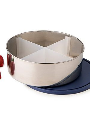 U-Konserve Divided Big Bowl Stainless Steel Round Bento Box 3-in-1 Container 100oz – Navy Airtight Lid – Removable…