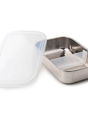 U-Konserve Divided Rectangle Stainless Steel Bento Box Lunch Container 25oz – Clear Airtight Lid – Removable 2-Section…