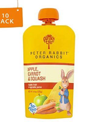 Peter Rabbit Organics, Carrot, Squash & Apple puree, 4.4oz. Pouches (Pack of 10)
