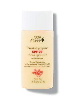 100% PURE Tomato Lycopene SPF 20 Moisturizer, Zinc Oxide Sunscreen, Moisturizer for Face with SPF, Daily Sunscreen…