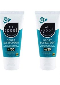 All Good Sport Mineral Sunscreen Lotion – SPF 30 – Zinc Oxide – Coral Reef Safe – Water Resistant – UVA/UVB Broad…