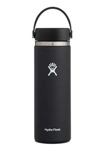 Hydro Flask Water Bottle – Stainless Steel & Vacuum Insulated – Wide Mouth 2.0 with Leak Proof Flex Cap – 20 oz, Black