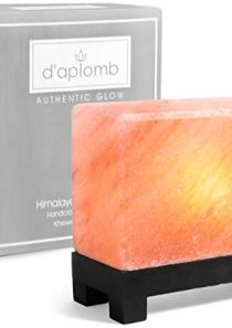 100% Authentic Natural Himalayan Salt Lamp; Hand-Carved Modern Rectangle in Pink Crystal Rock Salt from The Himalayan…