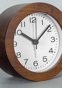 AROMUSTIME 3-Inches Round Wooden Alarm Clock with Arabic Numerals, Non-Ticking Silent, Backlight, Battery Operated…