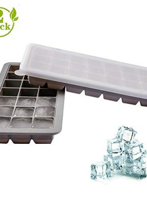 Ice Trays, Silicone Ice Cube Trays with Lid for Whisky, Juice, Cocktail, BPA Free Stackable and Reusable 21 Ice Cube…