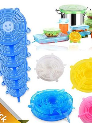 Stretch Silicone Lids 24 Pcs Food Cover, Food Covers for Bowl Covers,Various Sizes Seal Cover to Keep Food Fresh…