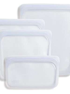 Stasher Platinum Silicone Food Grade Reusable Storage Bag, Clear (Bundle 4-Pack Small) | Reduce Single-Use Plastic…