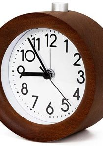 4 Inch Wooden Analog Alarm Clock Battery Operated Non-Ticking with Snooze Button,Night Light,Gentle Wake