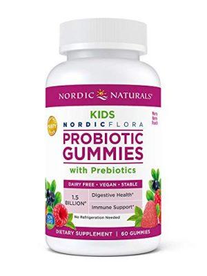 Nordic Naturals Kids Nordic Flora Probiotic Gummies, Merry Berry Punch – 60 Gummies – 1.5 Billion CFU & Prebiotic Fiber…