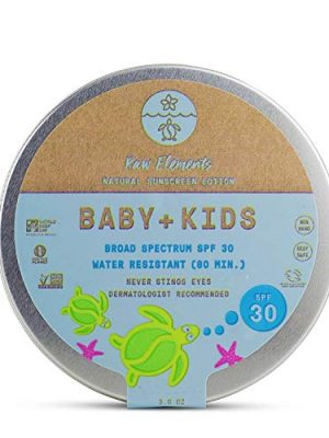 Raw Elements Baby + Kids SPF 30 Organic Sunscreen Lotion Non-Nano Zinc Oxide, Reef-Safe, Cruelty-Free, Gentle and…