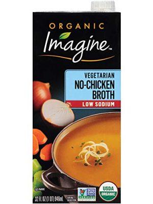 Imagine Organic Low Sodium Broth, Vegetarian No-Chicken, 32 Oz (Pack of 12)