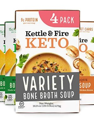Keto Soup with Bone Broth Variety Pack by Kettle and Fire, Pack of 4, 2 Broccoli Cheddar, 2 Mushroom Bisque, Organic…