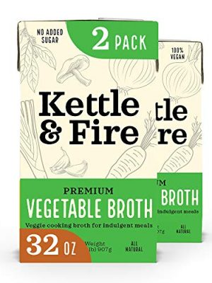 Kettle and Fire Vegetable Broth, Keto, Paleo Friendly, 100% Vegan, Gluten Free, Dairy Free, 2 Pack