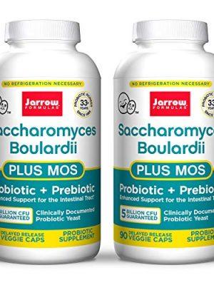 Jarrow Formulas Saccharomyces Boulardii + MOS – 5 Billion Organisms/Serving – 90 Delayed Release Veggie Caps, Pack of 2 – Probiotic + Prebiotic – Intestinal Tract Support – Up to 180 Total Servings