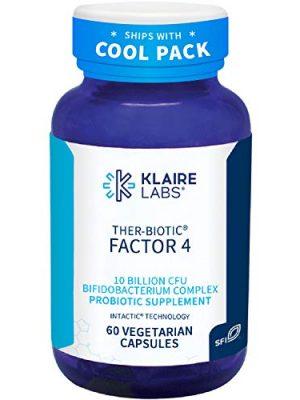 Klaire Labs Ther-Biotic Factor 4 – 10b CFU Bifidobacterium Bifidum Probiotic with Breve, Lactis & Longum – Immune + Gut Health Support – Hypoallergenic Bifidobacterium Probiotic (60 Capsules)